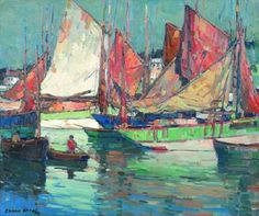 Painting by Edgar Alwin Payne titled: Tuna Boats, Brittany.    #art #other #popular