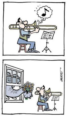 aahh the beautiful sounds of beginning trombone Partituras Trombone, Bassoon, Clarinet, Humor Musical, Classical Music Humor, Music Jokes, Funny Music, Marching Band Humor, Band Jokes