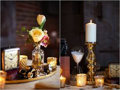 Steampunk inspired decorations. I like the napkin rings with the key.