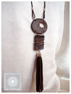 Dark Brown Leather Necklace with tassel on by JewelryArtLeather