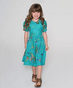 Love this Yo Baby Aqua Hummingbird Peasant Dress - Kids & Tween by Yo Baby on #zulily! #zulilyfinds