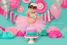 The Bubblegum Tutu Collection- Pink and Aqua Tutu Set, Flowers, Tiffany Blue, Headband, First birthday, Baby, Toddler, Pageant