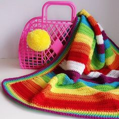 Crochet rainbow baby blanket pattern #huggablehome #crochet #crochetpattern #rainbow #newbaby #nursery #handmadegifts #diy Rainbow Nursery, Rainbow Baby, Crochet Gifts, Knit Crochet, Crochet Blanket Patterns, Crochet Blankets, Digital Pattern, Colorful Decor, New Baby Products