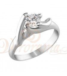 Μονόπετρo δαχτυλίδι Κ18 λευκόχρυσο με διαμάντι κοπής brilliant - MBR_082