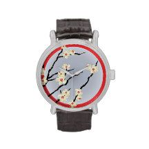 Blue sun and blossom wristwatches