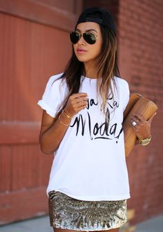 Sequin skirt, casual tee, baseball hat, and tiny gold jewelry. Perfect