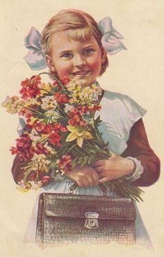 """Russian school uniform. """"A Schoolgirl"""" – Russian vintage postcard, artist E. Gundobin, 1956. #education"""