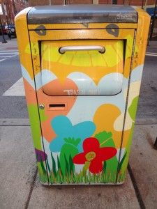 painted trash can