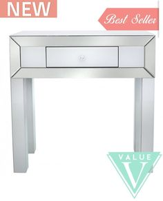Salerno Value White and Clear Mirrored Console Table - 1 Drawer White Mirror, Console Table, Bedroom Furniture, Office Desk, Drawers, Home Decor, Bed Furniture, Desk Office, Decoration Home