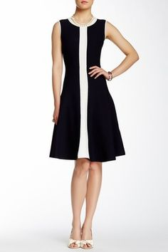 Fluted Scuba Knit Dress