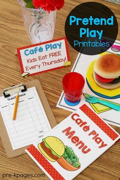 Dramatic Play Printable Menu for Pretend Play Restaurant in Preschool and Kindergarten. Make learning FUN with dramatic play.Printable Menu for Pretend Play Restaurant in Preschool and Kindergarten. Make learning FUN with dramatic play. Dramatic Play Area, Dramatic Play Centers, Play Based Learning, Fun Learning, Restaurant Themes, Preschool Restaurant, Prop Box, Creative Curriculum, Play Centre