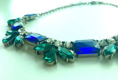 Blue and Green Crystal Light Statement Necklace