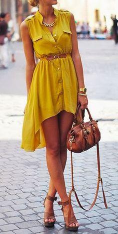 spring / summer - street & chic style - beach look - sleeveless mustard shirt dress + brown belt, handbag and heeled sandals + statement necklace