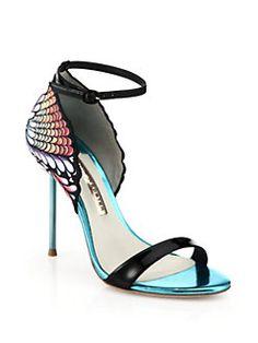 Sophia Webster - Flutura Feather Printed-Back Metallic Leather Sandals