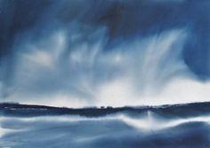 La ligne - Peinture,  74x104 cm ©2012 par Muriel Buthier-Chartrain -            très grande aquarelle contemporaine