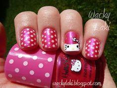 Hello Kitty Nail Art. This is cute!