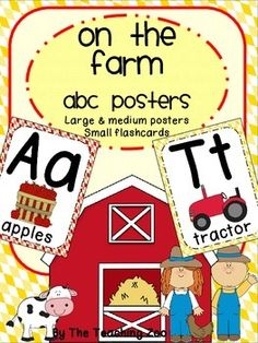 "Farm Theme ABC Posters - Large, Small & FlashcardsABC PostersIncluded in this pack:Large Alphabet Posters A-ZSmall (half sheet) Posters A-ZABC Flashcards A-ZCheck my store to complete your classroom farm themed look and for other great items!Please click the star above to ""Follow Me"" to be able to receive updates on new great products and freebies!"