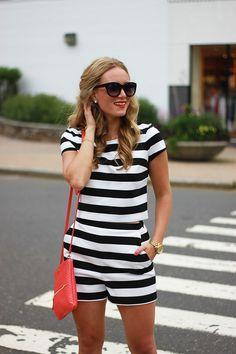 Style Cusp // Striped Express top and bottom with Zara heels + Gigi New York bag