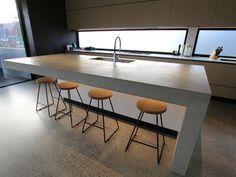 Polished Concrete Kitchen, Polished Concrete Countertops, Concrete Bench Top, Concrete Slab, Interior Design And Construction, Kitchen Tops, Kitchen Ideas, Kitchen Benches, Kitchen Flooring