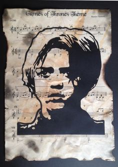 Arya Stark, Game of Thrones, Maisie Williams, Hand Cut Stencil Silhouette, Sheet Music Wall Art, Multi Layer Collage A4 Size, Gift Ideas by StencilArtStudio on Etsy
