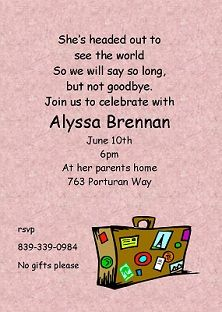 Going Away Party invitations NEW selections summer 2016 Grad party