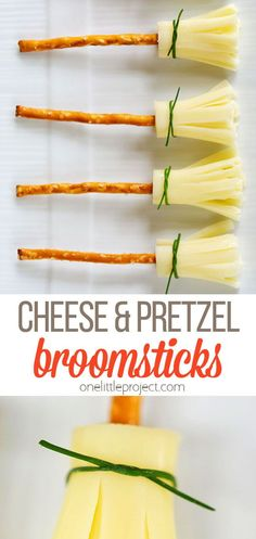 These cheese and pretzel broomsticks are SO easy, and they are so freaking cute! All you need are some pretzel sticks, some string cheese and some chives (although, if you are in a hurry, the chives are totally optional). Halloween Snacks For Kids, Halloween Treats, Halloween Party, Pretzel Cheese, Pretzel Snacks, Cake Decorating Designs, Snack Recipes, Cooking Recipes, Cheese Snacks