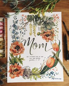 Mom's Wreath Personalizable Print - This watercolor print I painted for comes with personalization of names…because - Watercolor Cards, Watercolor Print, Watercolor Flowers, Watercolor Paintings, Painting Inspiration, Art Inspo, Mothers Day Cards, Happy Mothers, Hand Lettering