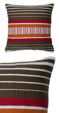 Earthy hues combine in this Southwestern home accent. Our Mission Pillow is made with 100% polyester and features a versatile, striped print with a splash of color. Dry clean only. Made in India.  Find the Mission Pillow, as seen in the Vintage Southwest at the Alamo Motel Collection at http://dotandbo.com/collections/vintage-southwest-at-the-alamo-motel?utm_source=pinterest&utm_medium=organic&db_sku=124536