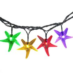 LUCKLED Starfish Solar String Lights, 20ft 30 LED Fairy Decorative Christmas Lighting for Indoor and Outdoor, Home, Lawn, Garden, Wedding, Patio, Party, and Holiday Decoratioms (Multi-Color) -- Wow! I love this. Check it out now! : Garden Christmas Decorations