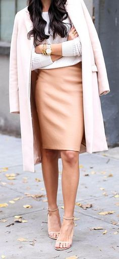Apricot Leather Pencil Mini Skirt by With Love From Kat