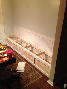 More click [.] How To Build A Storage Bench Ideas Top 14 Storage Bench Kitchen Image Ideas Pintere Kitchen Nook Bench, Banquette Seating In Kitchen, Kitchen Booths, Dining Room Bench, Corner Bench, Diy Kitchen, Room Chairs, Kitchen Decor, Dining Chairs