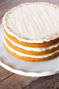 gluten free vegan pumpkin layer cake with cream cheese frosting
