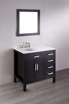 "Bosconi SB-2105 36"" Free Standing Vanity Set with Wood Cabinet Marble Top Unde Black Fixture Vanity Single"