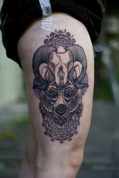 geometric wolf tattoo   ram skull & wolf #thigh #tattoos