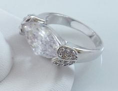 Ladies Clear 18K White Gold Overlay-Silver Ring~Size 7-Free Gift Box