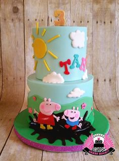 Peppa Pig Cake Ideas - Muddy Puddle Cake (by Cakes ROCK)  Birthday Party Cake, Peppa Pig, George Pig, Daddy Pig, Mummy Pig, Peppa House, Muddy Puddle, Red Car, Dinosaur