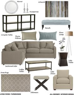 Pasadena Residence Living Room Furnishings Concept Board