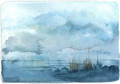 Indigo Sky - original watercolor painting by Michele McDonough - art journal inspiration