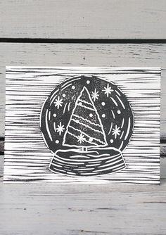 Allison Aitken – Snowglobe Linocut Print Sympathy Cards, Greeting Cards, Friendship Cards, Congratulations Card, Get Well Cards, Linocut Prints, Handmade Shop, Prints For Sale, Printmaking