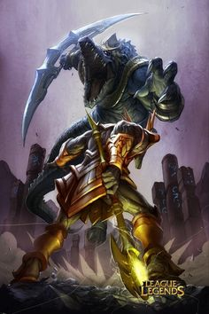Renekton vs Nasus Battle Art  League of Legends courtesy of Riot Games  2012  Illustration: Alvin Lee  Digital Colors: Tobias Kwan