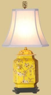 yellow chinoiserie lamp. This site has a lot of good Asian-influenced lamps.
