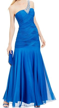 Joanna Chen NEW Blue Women's Size 8 One-ShoulderRuched Ball Gown Dress $249