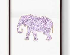 Gold, Lavender, and Purple Moroccan Elephant Print Save and print this artwork from your home computer or at a local print shop. Pink And Gray Nursery, Gold Nursery, Nursery Art, Purple Elephant, Elephant Print, Purple Dorm Rooms, Cute Dorm Ideas, Purple Animals, Elephant Illustration
