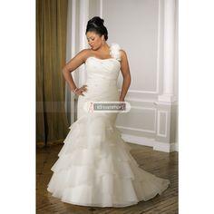 White Stretch Satin Plus Size Fanciful Organza Mermaid Wedding Dress with Shirred Ruffles $179.99 on sale.