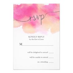 Vibrant Dreams Wedding RSVP Card / Pink & Peach #watercolor #rsvp #wedding #painted #bold #pink #peach #coral #fuchsia #fuschia #watercolour #colorful #modern #bright #artist #hand #painted' #trendy #elegant