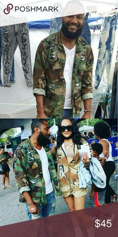 $45 Mens or Womens Custom Ripped Camouflage Jacket ***My IG:  MY_VINTAGE_WAYS   -Inbox me for sizes -These are used jackets I get from the military surplus store Jackets & Coats Military & Field