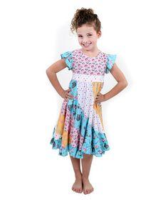 38b4c017193 Jelly the Pug Pink   Aqua Paris Flo Ruffle Dress - Toddler   Girls