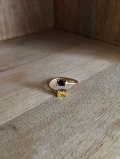 Double ring with yellow and black onyx stone by HurremSultanJewelry on Etsy