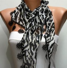 Leopard  Scarf   Headband Necklace Cowl with  Lace by fatwoman, $13.50