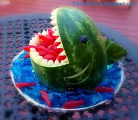 carved watermelon shark with swedish fish in mouth.. too cute!